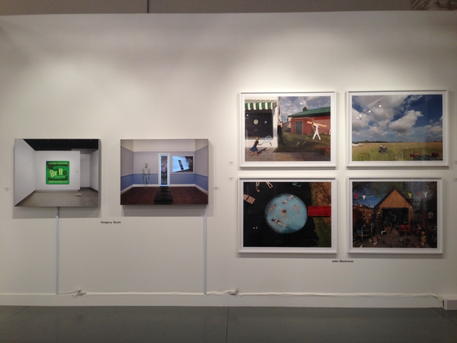 A grid of four Julie Blackmon photographs on the right at Paris Photo LA 2014