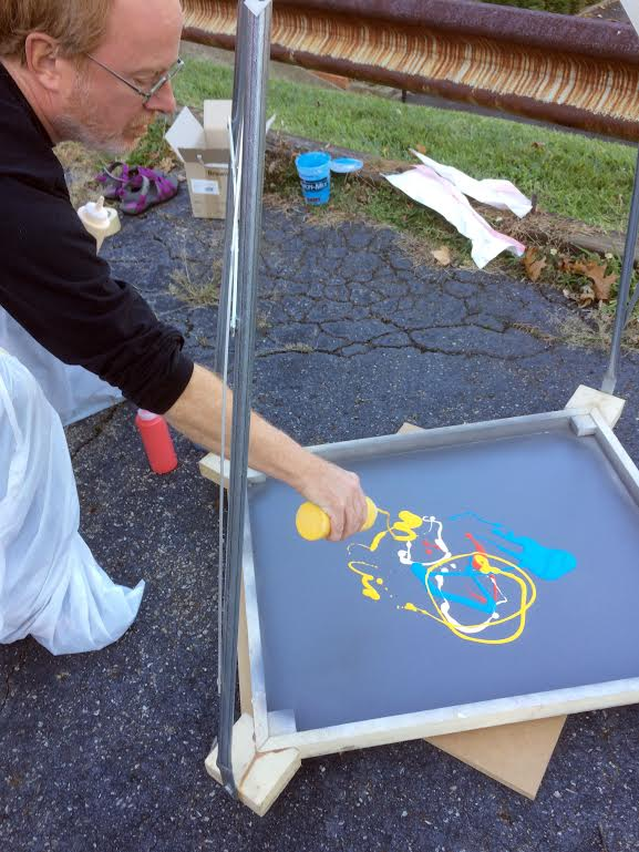 Gregory Scott starting the spin painting for Color Movement (Circle), 2014