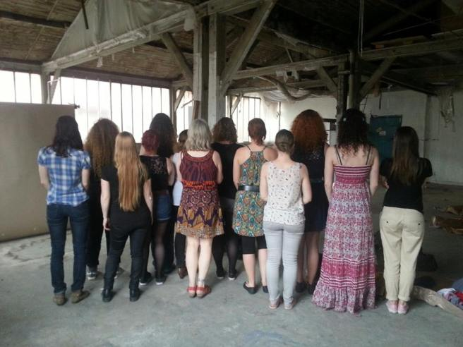 Backs of French Roller Derby Girls with Tara Bogart