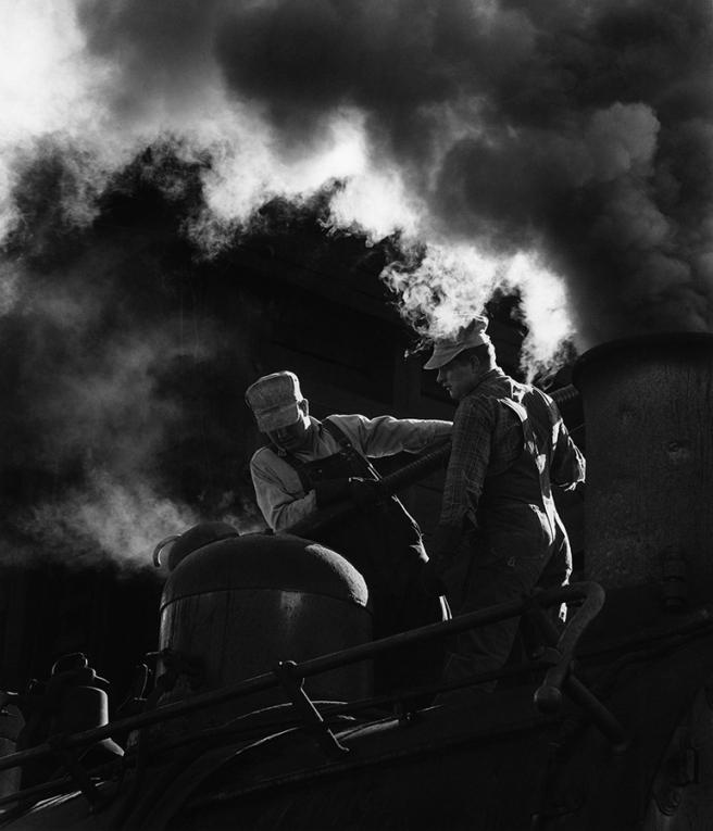 Denver & Rio Grande Western Railroad, Locomotive taking sand, Chama, New Mexico, 1962 © David Plowden