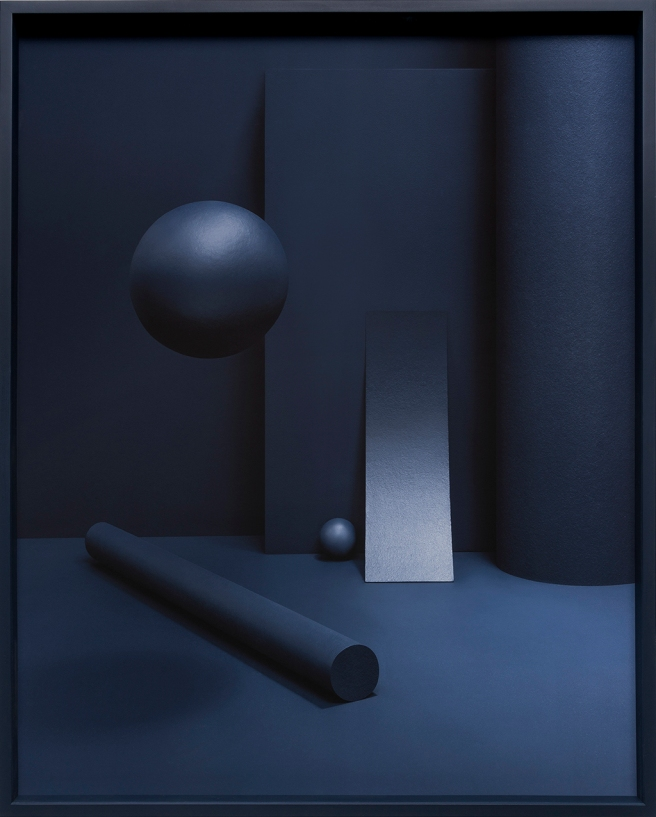Image: Liat Elbling, A Leap of Imagination #4, 2018. An arrangement of dark blue shapes lay in a dark blue room.