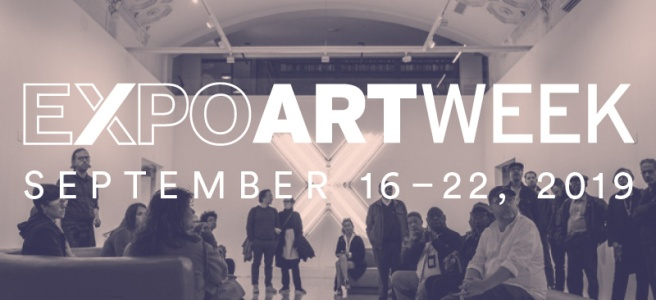 "Image: A crowd standing in an art gallery with the text ""EXPO ART WEEK"" going across the center."