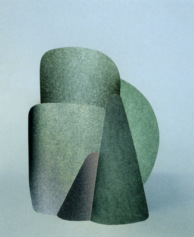 Image: Hannah Hughes, Mirror Image #25, 2019. A geometric, abstract form that is largely green in front of a blue background.