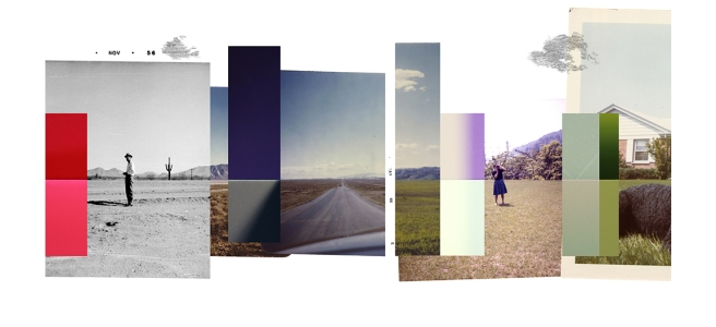 Image: We Have Been Where You Are Going (Horizon III), 2015. An image of collaged photographs of various colors and sizes forming a horizon line.